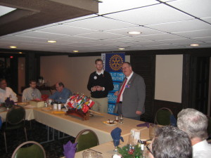 Club President Joe Hedrick introduces District 5580 Governor Tim Kaminski